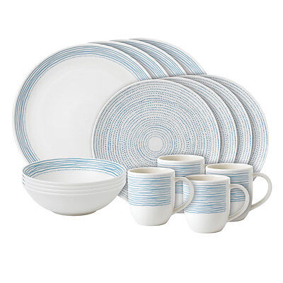 NEW Royal Doulton Ellen DeGeneres 16 PCE Dinner Set Polar Blue Dots - PriceDrop!