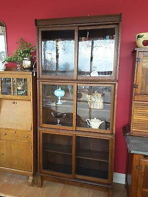 Antique Quarter Sawn Oak Danner 3 stack bookcase, sliding doors, 81 inches tall