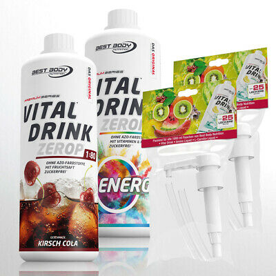 12,45€ /Ltr. Best Body Low Carb Vital Drink 2 x 1 Liter Getränkesirup + 2 Pumpen