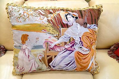 Elegant HUGE Antique French Petit Point Aubusson Tapestry Pillow Figural MINT