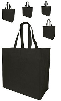 5 Jumbo Size Grocery Tote Shopping Bag Black Reusable Eco Friendly Large Bags