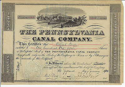 PENNSYLVANIA 1900 The Pennsylvania Canal Company Stock Certificate Issac Wistar