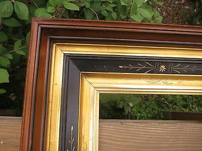 1860 Beautiful VICTORIAN EASTLAKE AESTHETIC Gilded Ebonized Deepwell Antique Frm