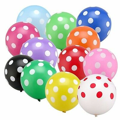 Ballons colorés à pois blancs en Latex (lot de 10 ou de 20)