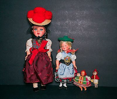 """SALE Vintage 12"""" Celluloid German Doll MIB & Friends Red Riding Hood Others"""