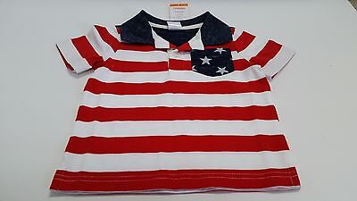 American Flag Patriotic Gymboree Toddler Kids Short Sleeve T-Shirt 100% Cotton