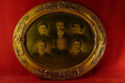 LARGE ANTIQUE 1800s ORNATE GESSO BUBBLE GLASS PICTURE FRAME WITH FAMILY PHOTO