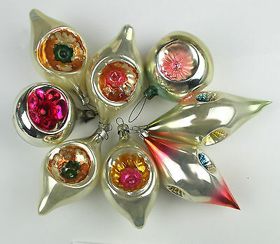 8 OLD  Vintage Russian USSR Silver Glass Christmas X-mas Tree Ornaments