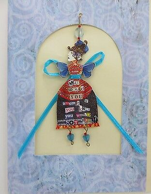 """Laini's Ladies hanging FAIRY card ornament """"What Would You Attempt?""""  BLUE WINGS"""