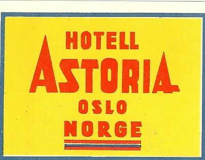 Vintage Hotel Luggage Label Hotell Astoria Oslo Norge