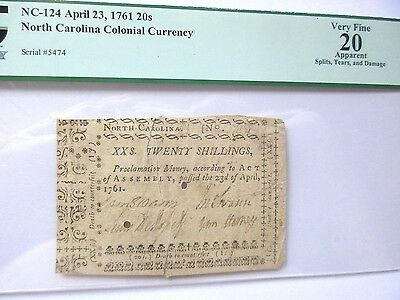 N. Carolina Colonial Currency NC-124, 1761, 20s, PCGS VF-20 apparent