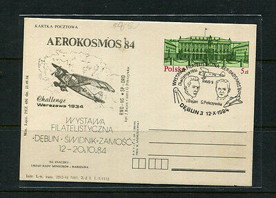 Poland 1984 Ppe Special Stamp Cover Aerkosmos '84 Cache Warsaw 1934 Challenge