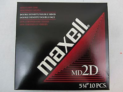 """Maxell MD2D Double Sided 51/4"""" Mini Floppy Disks New In Box 10 Count"""