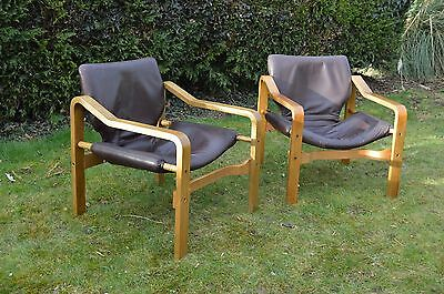 Stunning pair of Vintage/Retro 1970s Scandinavian Design Leather Lounge Chairs