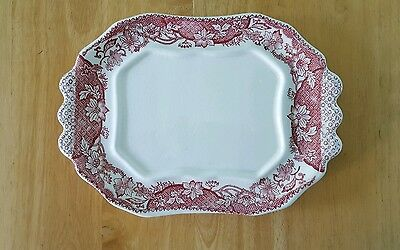 Vintage Antique Japanese Ceramic Tray Plate Pink Floral Pattern