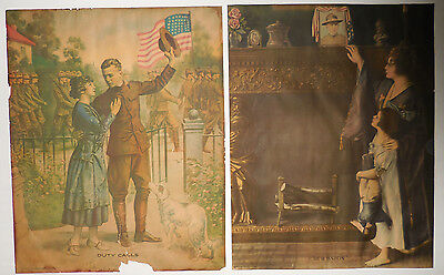 "WW1 Lithographs Propoganda Posters ""Duty Calls"" and ""Our Daddy"" VINTAGE 1917"