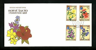 Postal History St. Lucia FDC #1027-1030 Christmas Religion flowers plants 1995