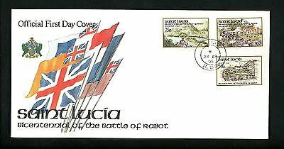 Postal History St. Lucia FDC #1014-1016 Military Battle of Rabot flags 1995