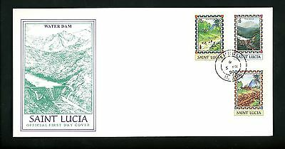 Postal History St. Lucia FDC #1035-1037 Water Hydro dam energy conservation 1996