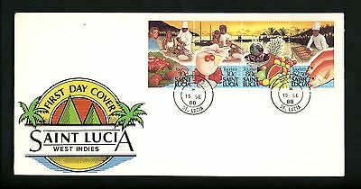 Postal History St. Lucia FDC #921 Tourism travel food drink 1988