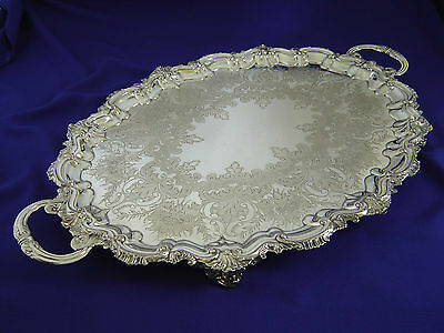 Fine Antique Victorian Large Jays Footed Silver Plate Tea Serving Tray England
