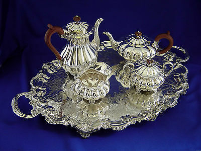 FINE ELLIS BARKER 4Pc. VINTAGE SILVER PLATED MELON FORM FOOTED TEA SET