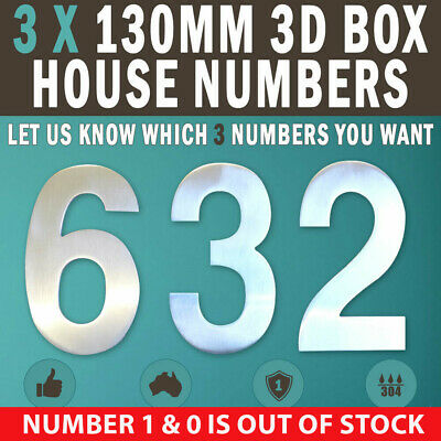 NEW 3 X 130 MM 3D House Number Letter Box Numbers 304 Stainless Steel