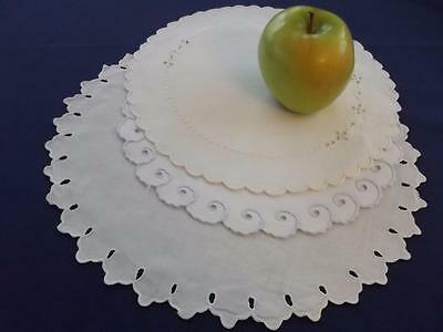 3 Vintage White Linen Madeira Embroidered Bridal Elegant Centerpiece Doilies Lot
