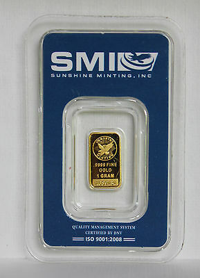1 Gram .9999 Fine Sunshine Minting Gold Bar In The Original Sealed Holder