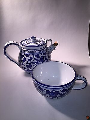 DERUTA TUSCAN TEAPOT WITH CUP ITALIAN CERAMIC HANDPAINTED Signed Dipinto A Mano