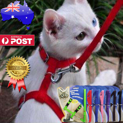 Nylon Pet Cat Kitten Adjustable Harness Lead Leash Collar Belt Safety Shape H
