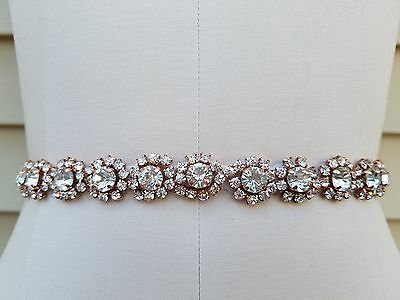 Wedding Belt, Wedding Sash, Bridal Sash, Rhinestones with Rose Gold Accents