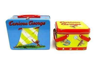 Lot of 2 Curious George Metal Lunchbox & Lunch Tin Set VGC