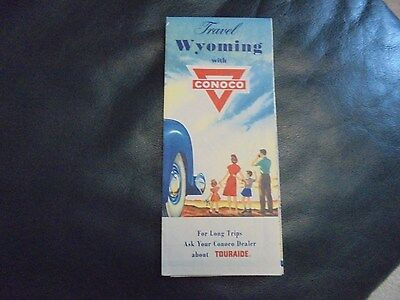 Vintage 1950's Conoco Gas Oil Service Station Wyoming Road Map