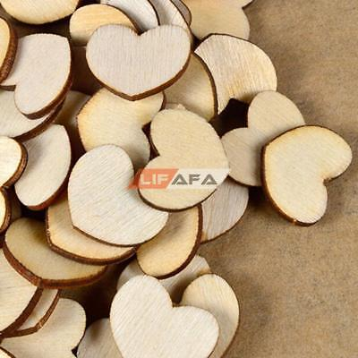 100Pcs Mini Wooden Wood Love Heart Pieces Painting Craft Cardmaking Scrapbooking