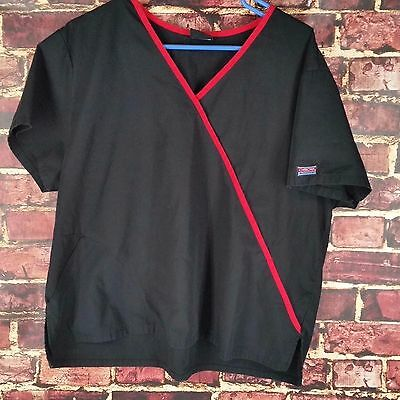 Cherokee 2 Pocket V Neck  Scrub Women Medical Style Nurse Black/Red Trim