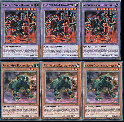 Ancient Gear Howitzer + Hunting Hound x3 - Common - RATE - Yugioh Raging Tempest