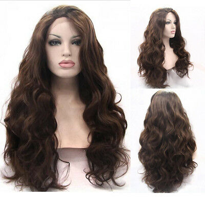 """20""""-28"""" Heat Resistant Lace Front Wig Synthetic Hair Body Wavy Medium Brown"""