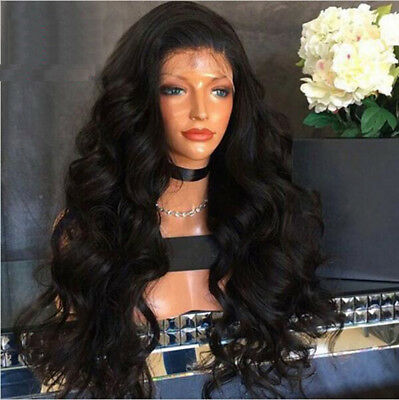 """20""""-26"""" Heat Resistant Lace Front Wig Synthetic Hair Long Wavy Natural Black"""