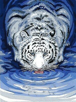 White Tiger Drinking Needlepoint Tapestry- Ready To Stitch & Enjoy Forever!