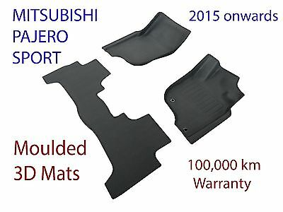 To suit Mitsubishi Pajero Sport 3D Rubber Floor Mats 2015 - 2019