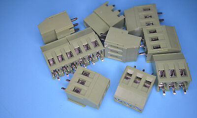 TERMINAL BLOCK PCB MOUNT 3 WAY GREEN 5mm PITCH RATED 24 AMP LINKABLE PACK OF 10