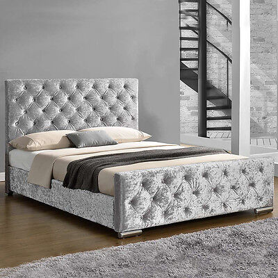 Silver Crushed Velvet Fabric Upholstered Bed Frame Double / King Size