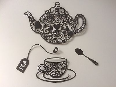 5 X Teapot and teacup Set Lace Die Cuts