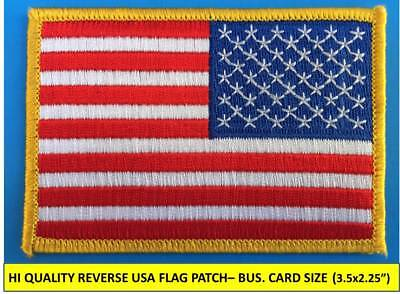 "REVERSE USA AMERICAN FLAG EMBROIDERED PATCH IRON-ON SEW-ON GOLD BORDER(3½ x 2¼"")"