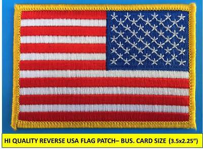 "REVERSE USA AMERICAN FLAG EMBROIDERED PATCH IRON / SEW-ON GOLD BORDER (3½ x 2¼"")"