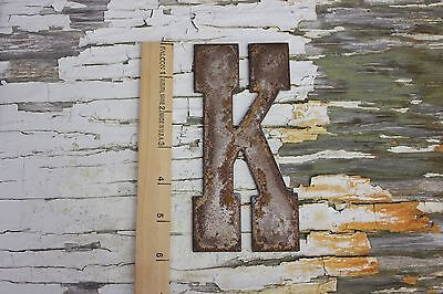 """6"""" tall, steel / metal, capitalized letter """"K"""" with rust finish"""