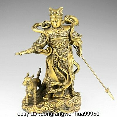Chinese Myth Brass Copper Protect 3 Eyes Yang Jian God Erlang Warrior Dog Statue