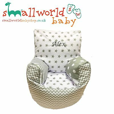 Personalised Grey Patchwork Toddler Bean Bag Chair (NEXT DAY DISPATCH)
