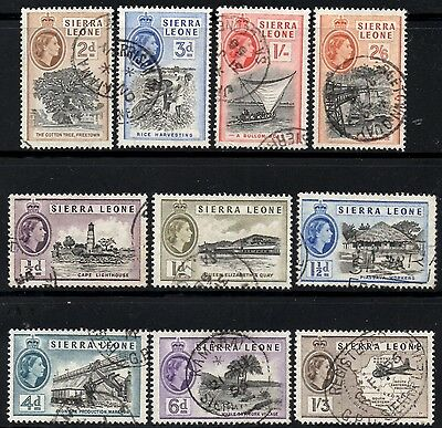 Sierra Leone 1956-61 Queen Elizabeth II  Pictorial Part Set  SG.210/219 Used